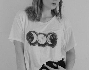 Triple Goddess boxy tshirt, triple moon top