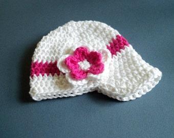 Baby Visor hat, Baby Girl Visor hat, Crochet Baby Hat