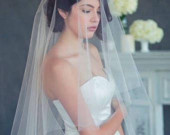 FINGERTIP MODERN DROP Veil with Blusher, Serene Simplicity, Also Available in Waltz & Chapel Length - Heather
