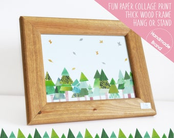 Woodland Forest Print, Fir Tree Print, Framed, Ski Chalet Decor, Natural Wood Chalet Art, Alpine Print, Chalet Nursery Art, Chalet Baby Room