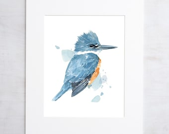 Kingfisher Watercolor Print, 8x10 bird painting wall art