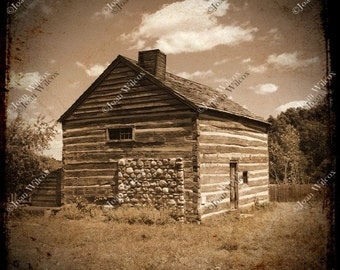 TTV Photo Colonial Log Cabin & Stone Barn 19th Century Historic Genesee Country Museum Sepia Fine Art Photography Print