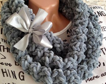 Extra long gray necklace scarf Crochet necklace scarf T-shirt necklace Bohemian knot necklace Chunky Knit necklace scarf Statement necklace