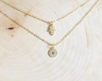 Hamsa and Evil Eye Golden Necklace