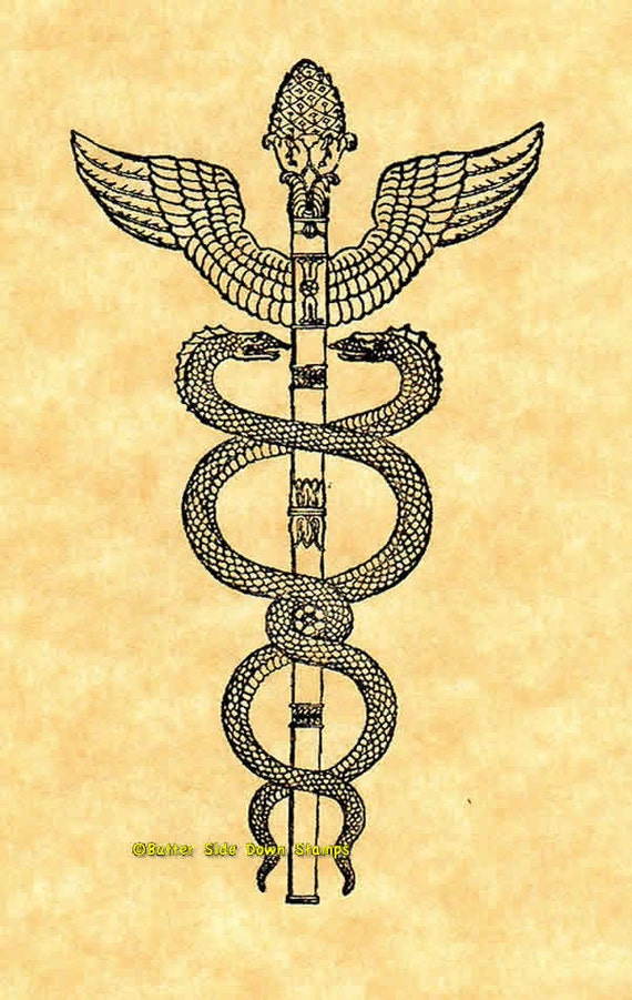 Caduceus Snake Staff Rubber Stamp Medical Symbol