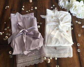 Bridal Party Robes Bride robes Brides maids robes Bridal party gifts bridesmaid robe Spa kits and gifts Bath and beauty bridal satin robes