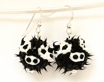 cow spiky earrings, bull earrings, spiky rubber earrings, spiky ball earrings, silicone ball earrings, sterling silver, black and white