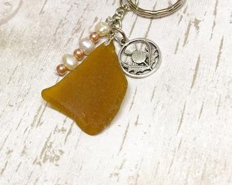 Sea glass keyring Scottish amber seaglass key chain beach glass key ring Scottish thistle silver charm souvenir of Scotland freshwater pearl