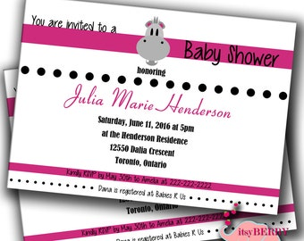 Baby Hippo Shower Invitations - Digital File