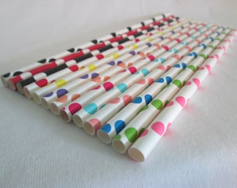 Paper Straws Primary Crayola Brights Mix of Polka Dots Perfect for a Birthday Party a Baby Shower or Add Some Bright Color To Any Event