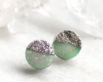 HUGE SALE druzy studs, green druzy, silver druzy studs, gold studs, electroformed, post earrings, gifts for her