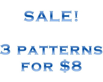 Cross-stitch pattern sale: 3 patterns for 8 dollars