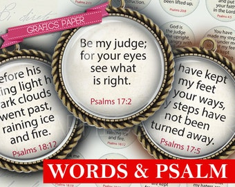 """Download Inspirational Words Psalm Sheet- digital collage sheet - td224 - 1.5"""", 1.25"""", 30mm, 1 inch Circles, 25 mm - Images circles pendant"""