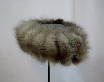 Vintage 1960s silver fox and knit pillbox hat by My Hat's a Michele