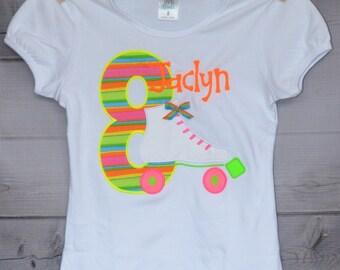 Neon Roller Skate Birthday Applique Shirt or Bodysuit Boy or Girl