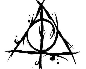 Harry Potter Deathly Hallows Symbol Brush Stroked Vinyl Decal Sticker