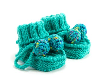 Knitted Baby Booties - Aqua Green, 0 - 3 months