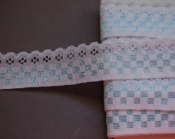 Blue Checkered Lace Trim