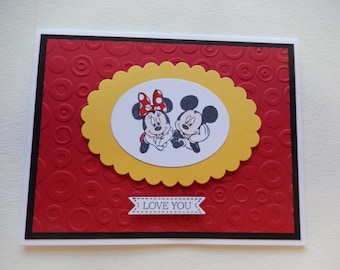 Mickey and Minnie Mouse I Love You Card