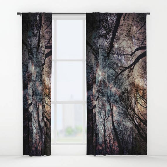 Trees Window Curtain,Stars, Forest, Night Sky Curtain, Decorative, Unique Design, Nature Decor, Office Window Curtain, Dorm, Campus,Woodland