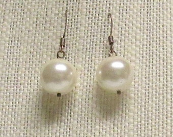 Off White Glass Pearl Earrings with Antique Copper Earwires