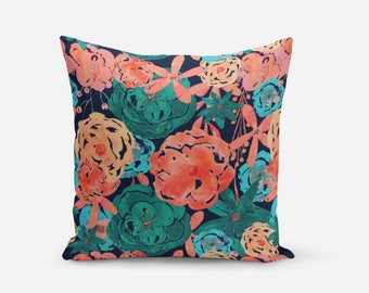 Floral Pillow Cover, Throw Pillow Cover, Navy Coral Blue Pink Teal, Accent pillow cover, home decor, sofa pillow cover