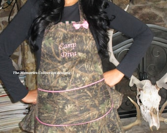 Pink Camo Apron completely customized for you.  True Timber fits all sizes s-2x  Monogram