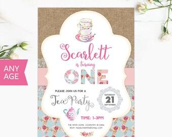 1st Birthday Invitation Personalized Photo Invite Shabby