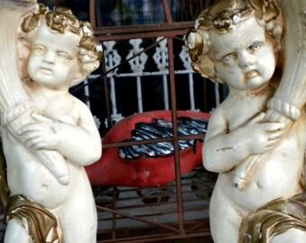 Antique Cherub Statue, Cherub Candle Holders, French Conservatory, Garden  Statue, Column,