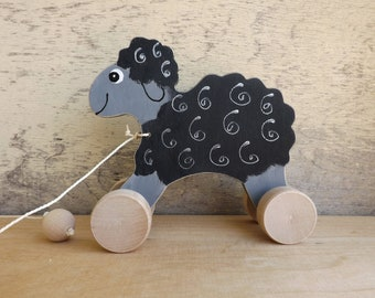Wood pull toy Sheep in Brown/ Black /White /Grey, hand-painted pull along toy on wheels, cheerful personalized wooden sheep toy for toddlers