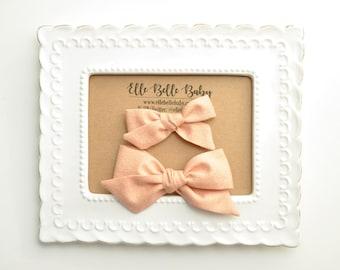 Gold Sparkle Peach Schoolgirl Hair Bow - Hand-tied hairbow-Evy bow -Cotton Baby Headband - Newborn Hairbow - Toddler Hair Clip