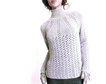 Frauen stricken Spitze Pullover Runde Joch Pullover Hand gestrickte Pullover Naturfaser Strickwaren Merino Super - Wäsche, die benutzerdefinierte Farbe Pilland strickt