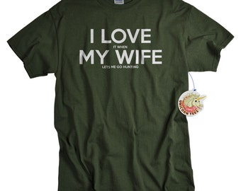 Anniversary Gifts for Husband - Mens Gift - Hunting Gifts for Men - I Love My Wife Shirt