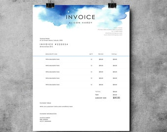Invoice Template Etsy - Word templates for invoices