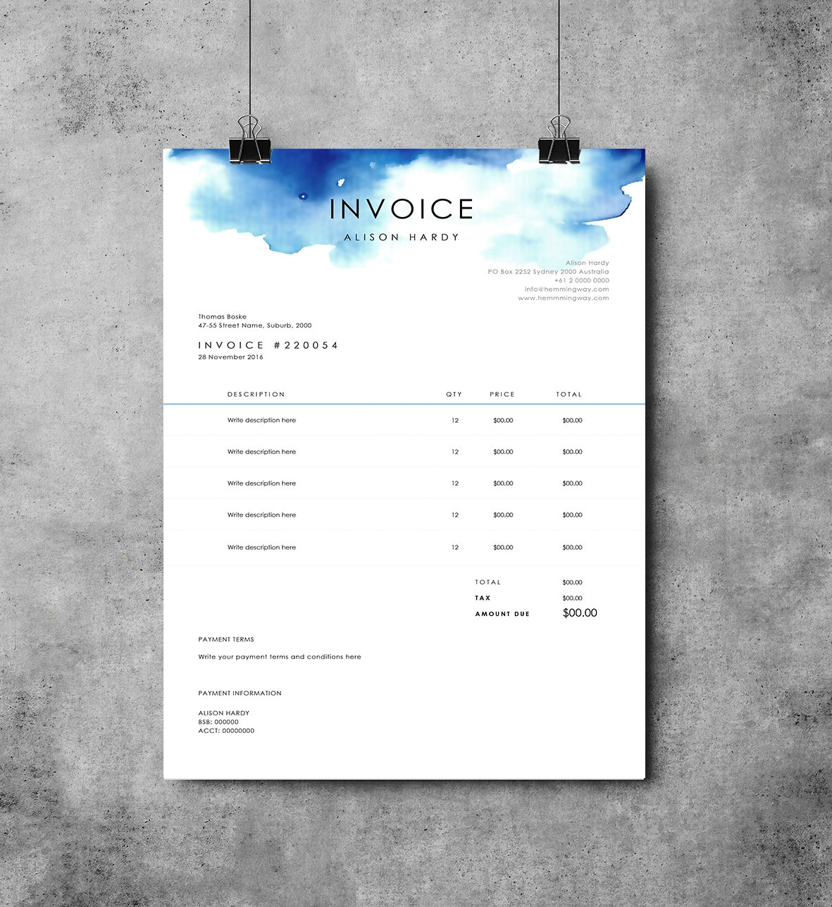 Invoice Template Receipt MS Word Template Instant