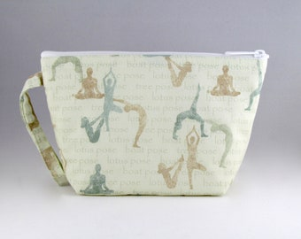 Yoga Poses Green Makeup Bag - Accessory - Cosmetic Bag - Pouch - Toiletry Bag - Gift