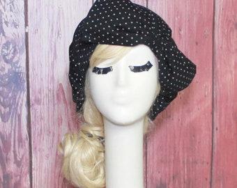 Turban Hat Bow, Polka Dot Knit Turban Bow, Borderline Hat, Grey Beret Hat Bow, Beret Bow