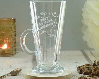 Wedding Anniversary Personalised Engraved Latte Glass
