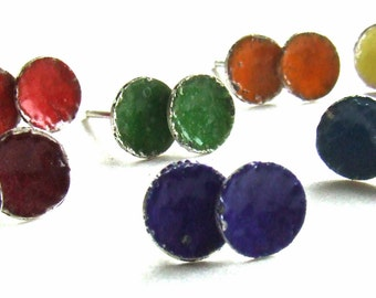 Enamel Stud Earrings, Petite Discs on Sterling Silver Posts - Blueberry, Cherry, Cranberry, Lemon, Orange, Grape or Lime