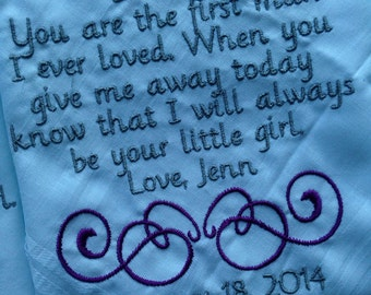 Personalized Father of the bride  Handkerchief