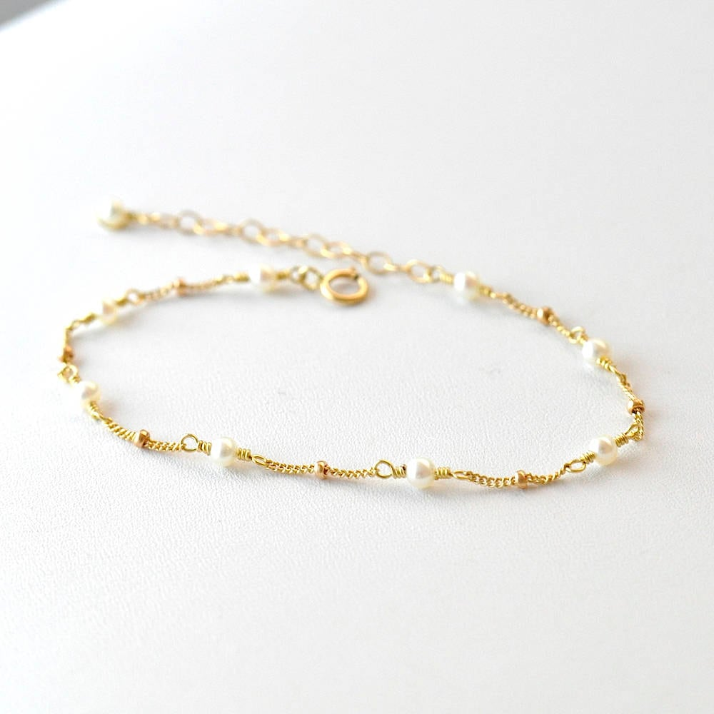 bracelet set of jewelry rose dainty initial personalized bridesmaid pearl gold media