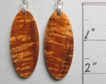 Curly KOA Exotic Wood Earrings, Hawaiian Handmade by ExoticWoodJewelryAnd Ecofriendly repurposed