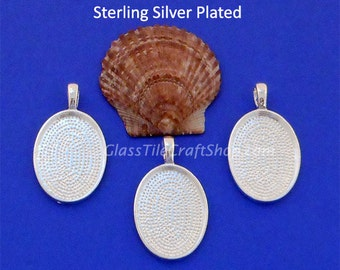 10pk Oval Pendant Trays, 25x18mm Sterling Silver Plated, Oval Bezel Blank Tray Setting (OVT25X18)