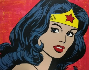 Wonder Woman Painted on Canvas