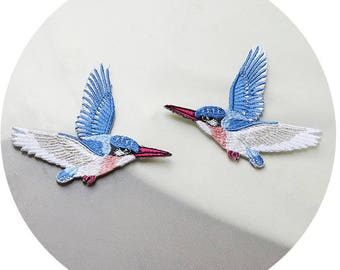 Blue Birds Iron-On Patches one pair