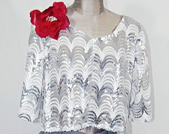 Silver and white sequin ladies halter. Sheer. Red flower. Party top, valentines day.