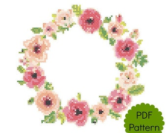 Floral Border Cross Stitch Pattern | PDF Modern Counted Cross Stitch Chart | Wall Decor | Instant Download | Pretty Flowers