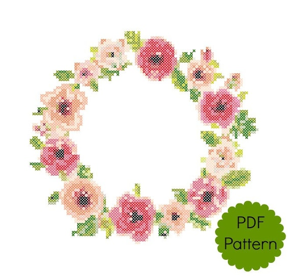 Floral border cross stitch pattern pdf modern counted cross stitch floral border cross stitch pattern pdf modern counted cross stitch chart wall decor instant download pretty flowers from foreverxstitch on etsy mightylinksfo