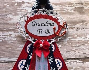 Nautical Theme Grandma To Be Baby Shower Corsage Badge