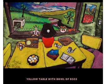 "Yellow Table with Bowl of Eggs • Douglass Truth Original Acrylic Painting • 24"" X 36"""